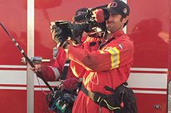 Film crew riding along on fire calls