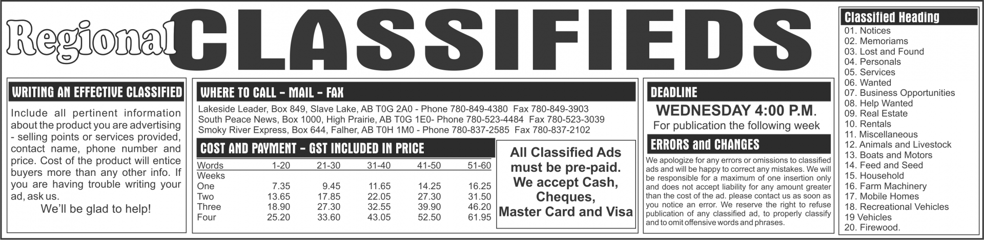 Classifieds - Lakeside Leader