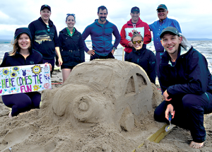 Rain, wind and a sandcastle!