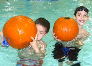 Swimming with pumpkins?