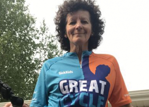 Roberta Hunt of Kinuso cycling for kids cancer